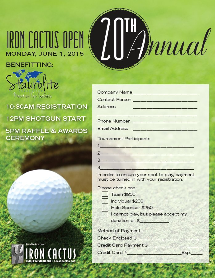 Golf Registration Form Front