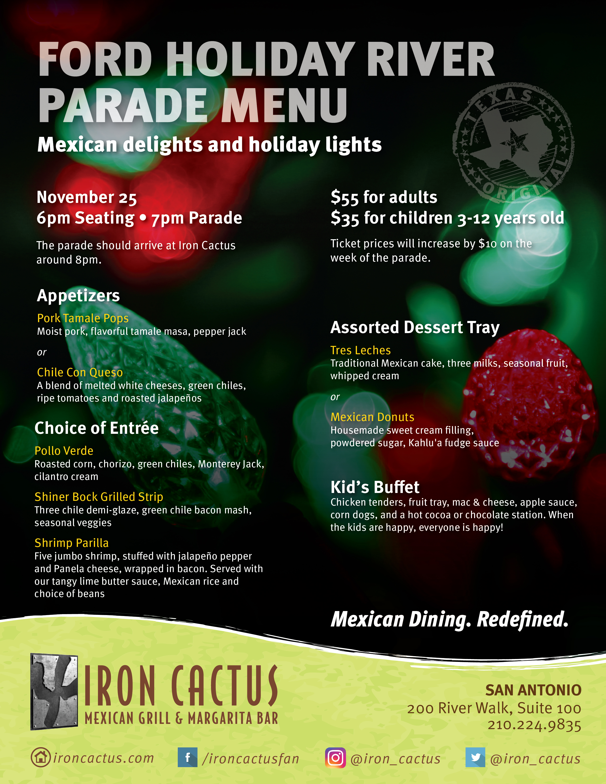 Iron Cactus-Mexican-Restaurants-Lighting The River Parade Menu