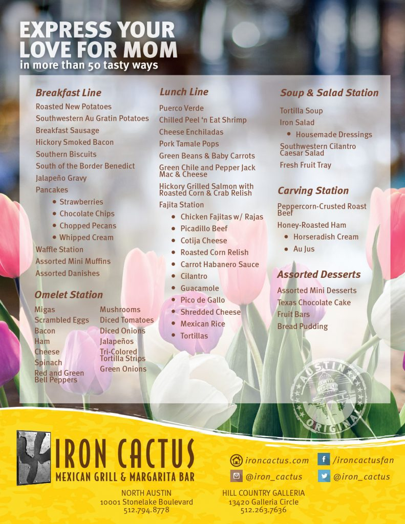 Iron Cactus, Dallas, Austin, Mother's Day Brunch Menu