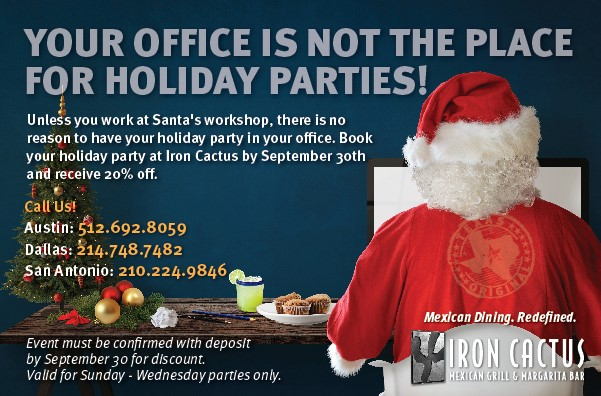 Book Your Holiday Parties Today Iron Cactus